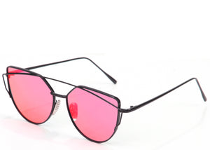 Ladies red mirrored on trend cat eye sunglasses