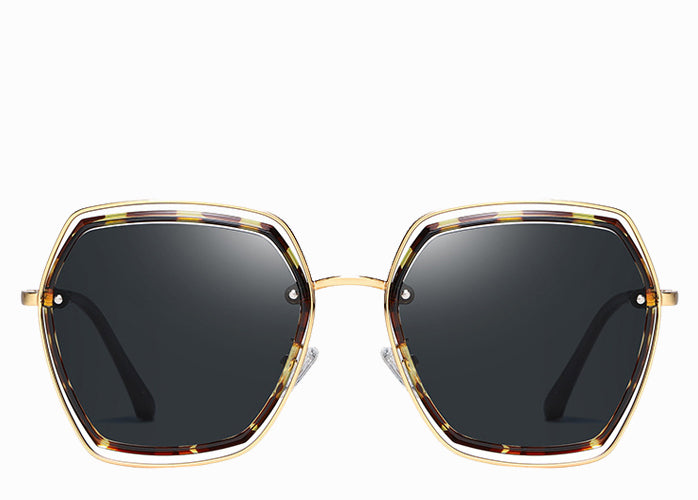 Women's hexagon sunglasses with leopard frame and black lens
