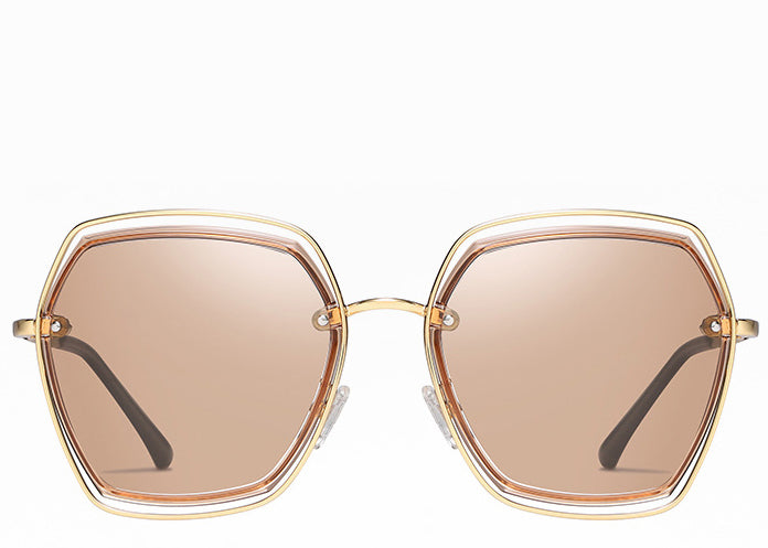 Women's hexagon peach tint stylish sunglasses with gold frame