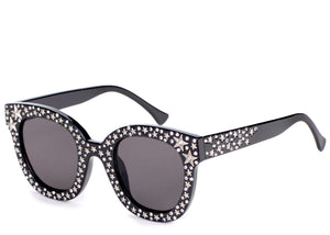Women's black stylish sunglasses with silver studded detail