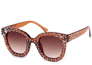 Women's stylish brown studded sunglasses