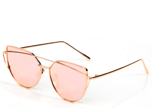 Women's trending rose gold mirrored cat eye sunglasses