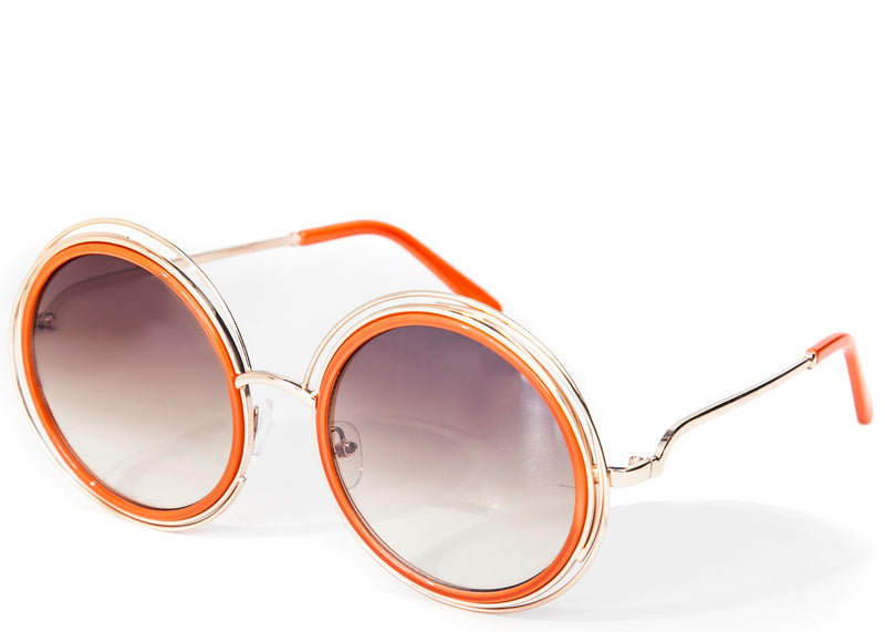 Women's round tinted oversized orange sunglasses