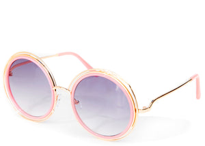 Women's round tinted oversized pink sunglasses