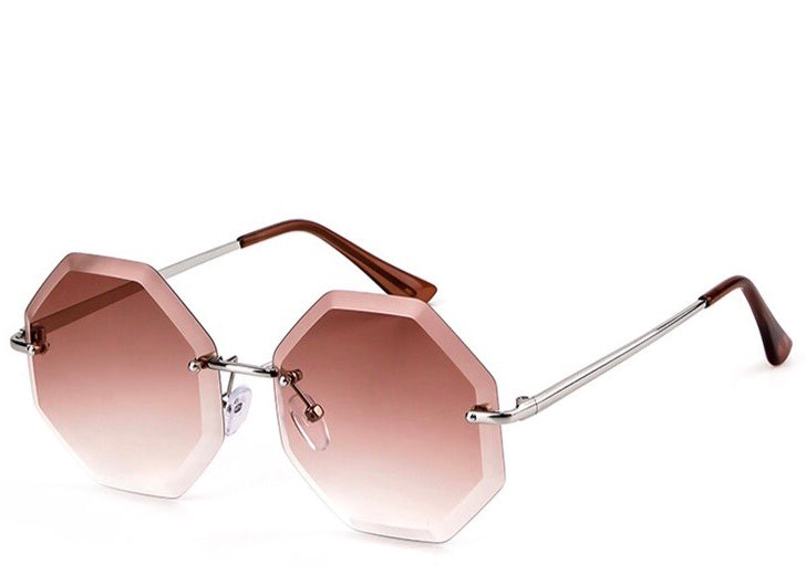 Women's modern brown tinted hexagon sunglasses