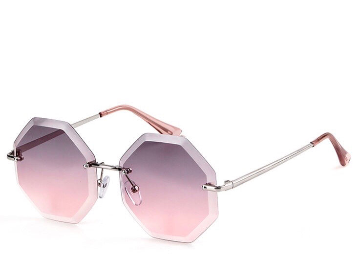Women's stylish rimless pink / purple tint sunglasses