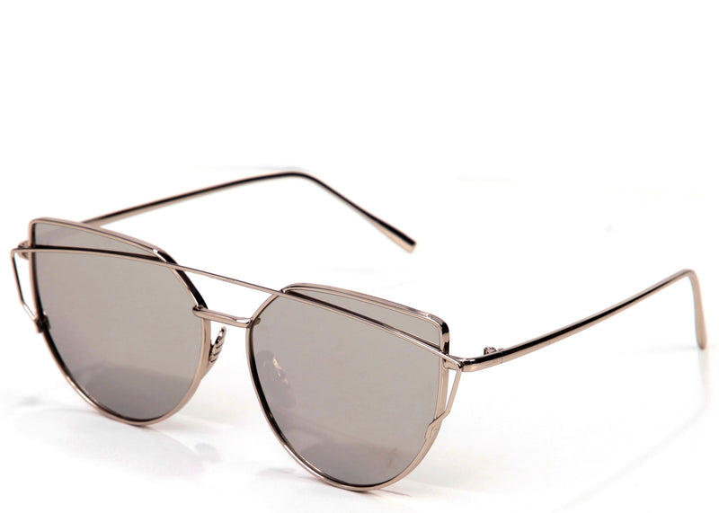 Women's stylish mirrored silver cat eye sunglasses