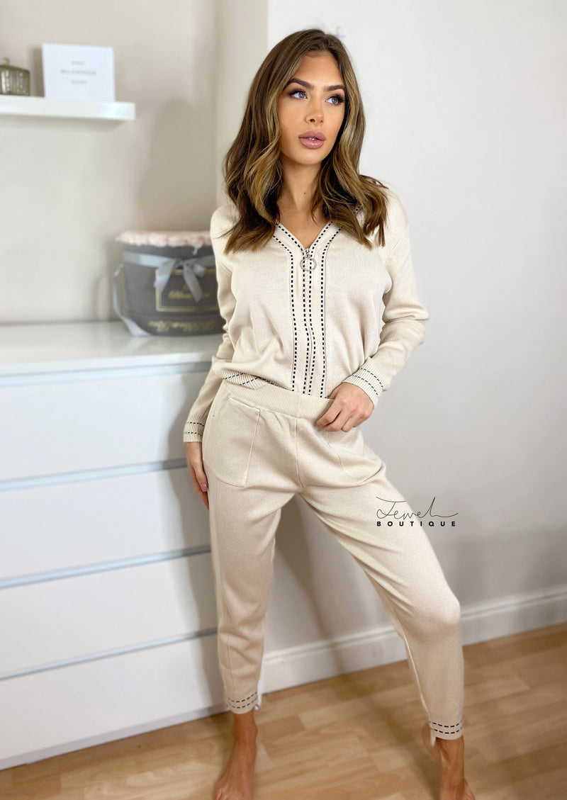 Women's cream super soft loungewear set with contrasting black stitching