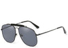 Women's black trendy oversized aviators with brow bar detailing