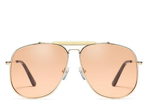 Ladies peach tinted aviator sunglasses with top bar detailing