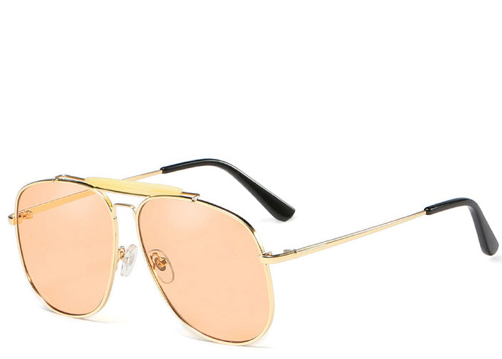 Women's peach tinted aviator sunglasses with top bar detailing