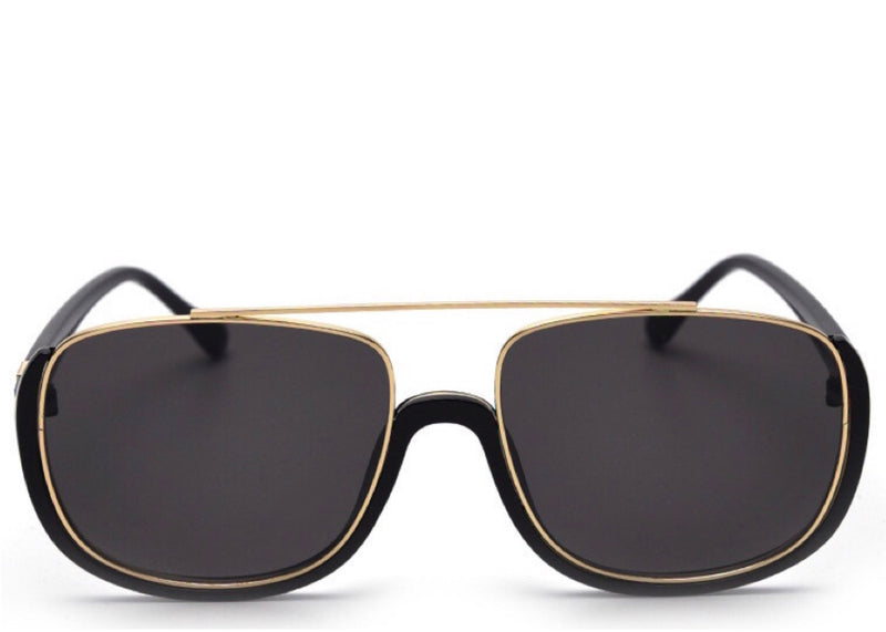 Women's stylish hexagonal black and gold sunglasses