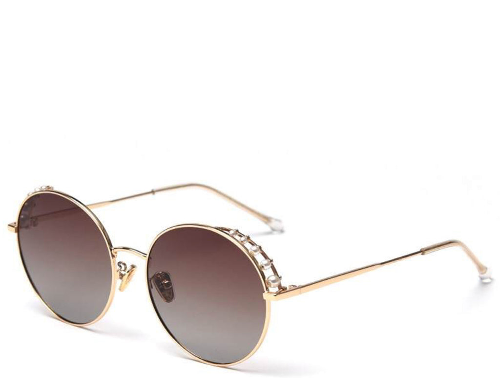 Women's stylish brown tint round sunglasses with pearl detail