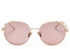 Women's round pinky peach polarised sunglasses with pearl detail