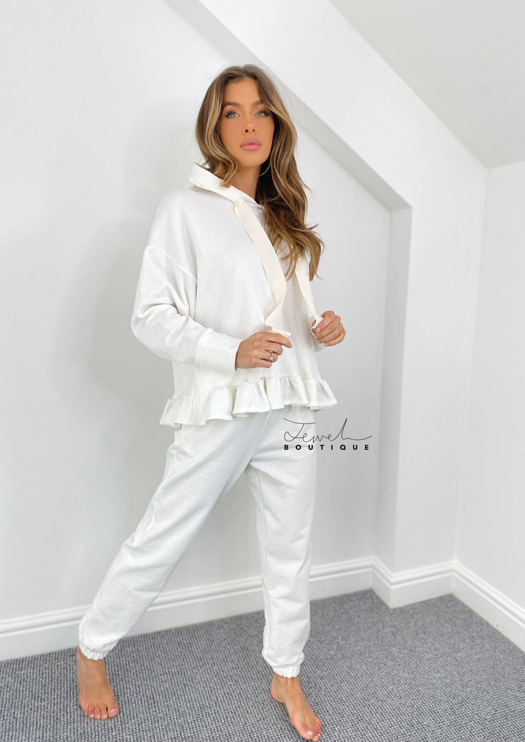 Frill hem women's fleece lined tracksuit / lounge set
