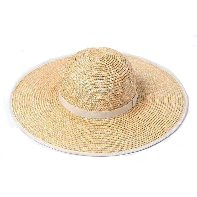 Women's wide brim straw stetson hat with nude trim