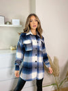 Women's stylish blue zig zag shacket / overshirt