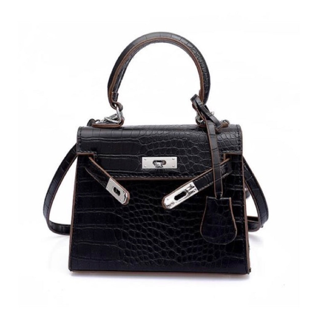 Mini Croc Black Bag