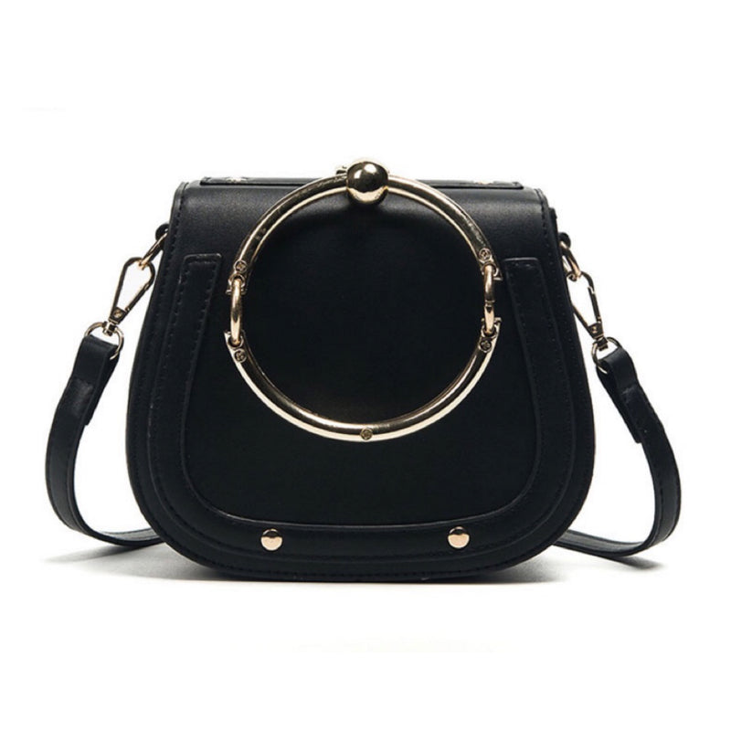 Women's fashionable black handbag with gold ring handle