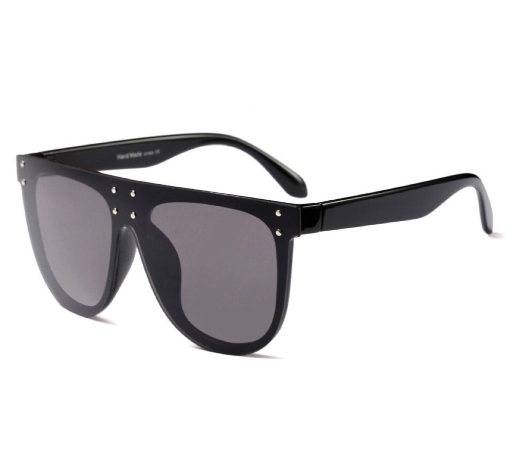 Milan Flat Aviator Sunglasses - Black