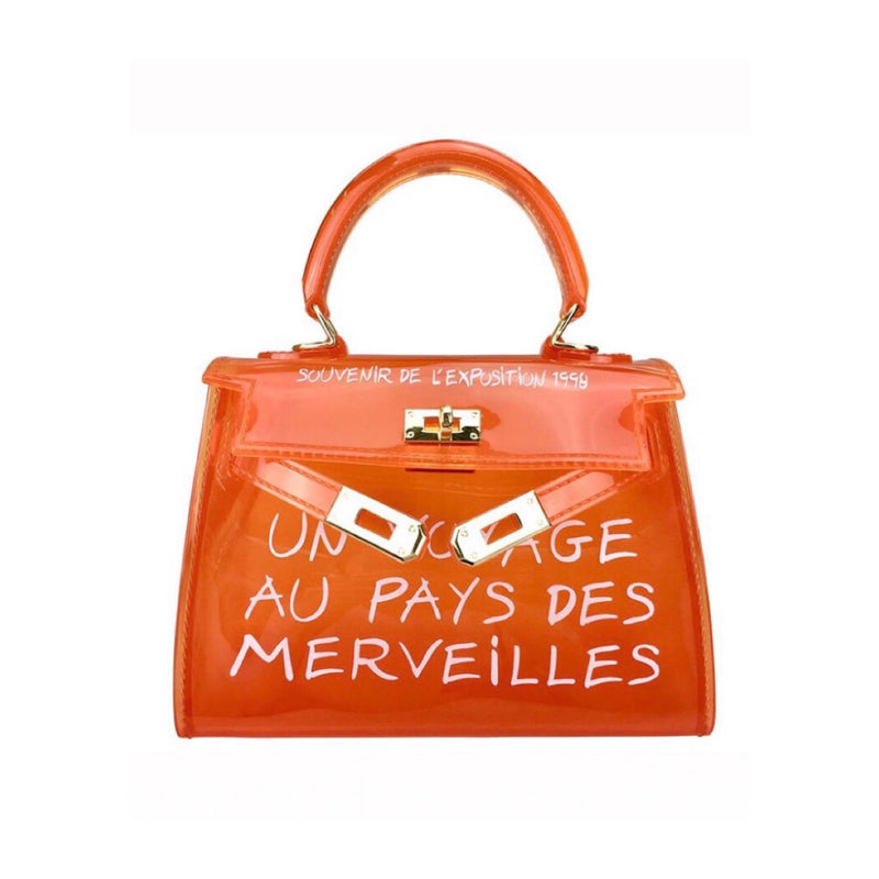 Ladies transparent perspex stylish orange mini handbag