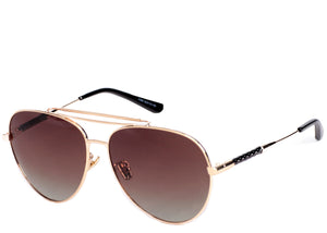 Women's brown tinted aviator sunglasses with gold detail