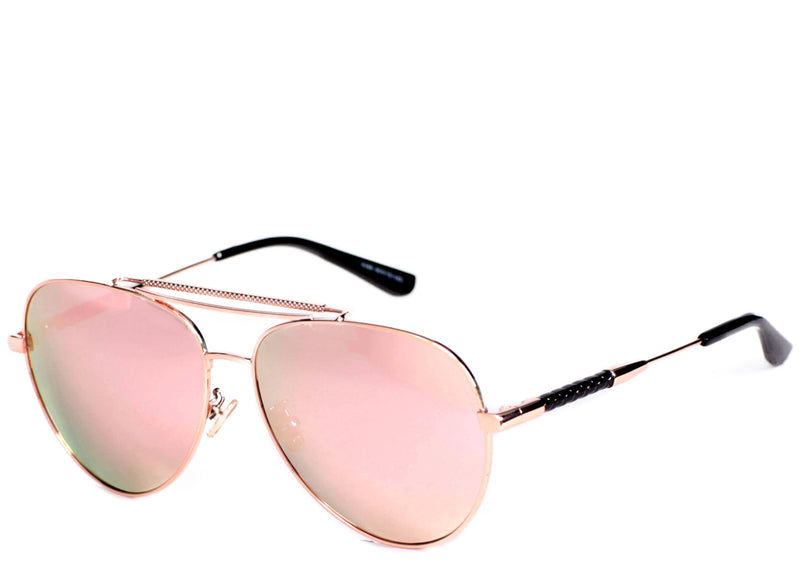 Women's trendy rose gold mirrored aviator sunglasses