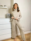 Women's beige knitted loungewear set