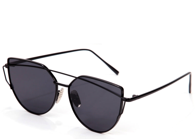 Women's stylish cat eye sunglasses with black frame and lens