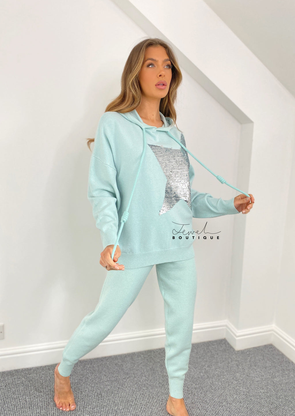 Women's black super fine knit luxurious mint green star sequin lounge set