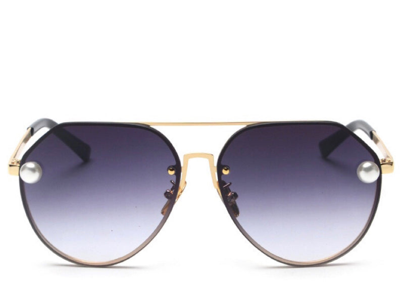 Women's stylish black tint aviator sunglasses with pearl detail