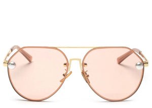 Women's stylish peach tint aviator sunglasses with pearl detail