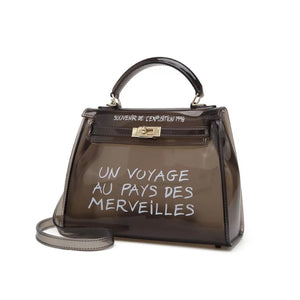 Perspex effect transparent women's handbag with gold detail
