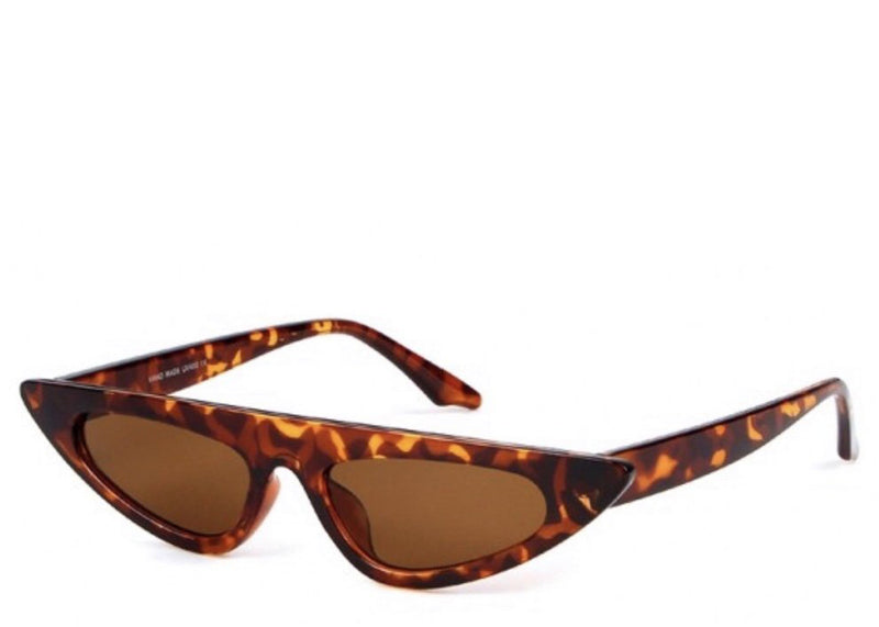 Women's tortoiseshell slim sunglasses