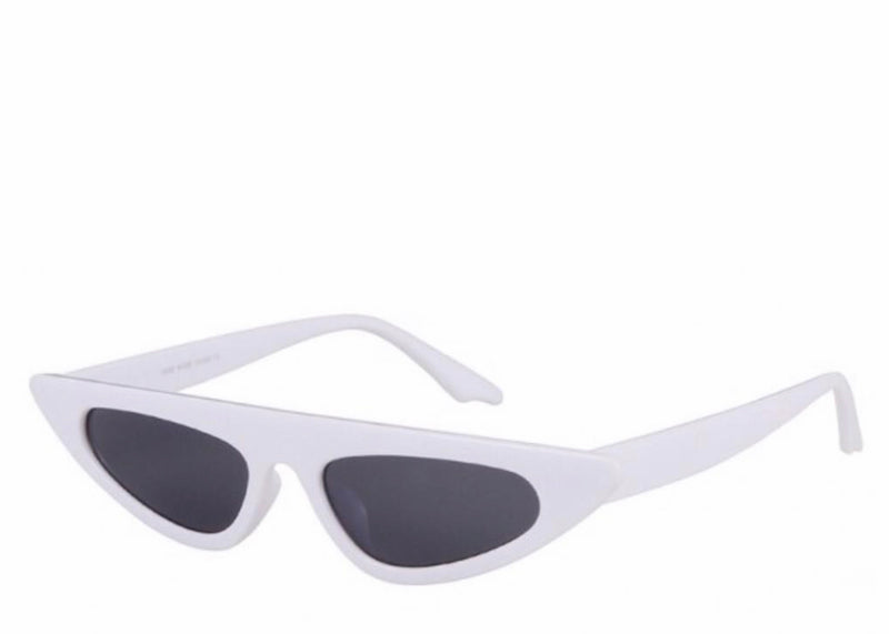 Women's slim white retro sunglasses