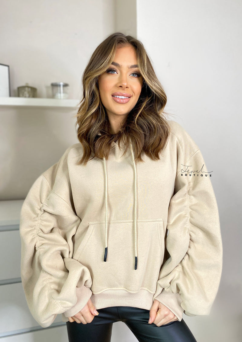 Women's oversized luxurious soft hoodie with ruched oversized sleeves