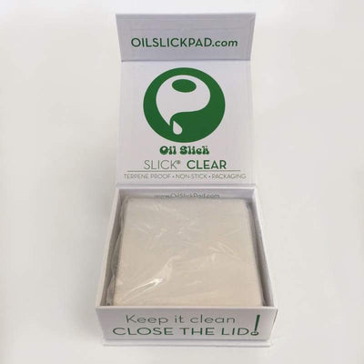 Oil Slick® Clear FEP Sheets - from silicone pipes to nonstick packaging.  Oilslick makes materials for extraction and recreational markets.  medical silicone containers, dab mats, terp proof fep and ptfe parchment. Oil Slick Productsprinted parchment, clear parchment, ptfe, and precut fep squares.