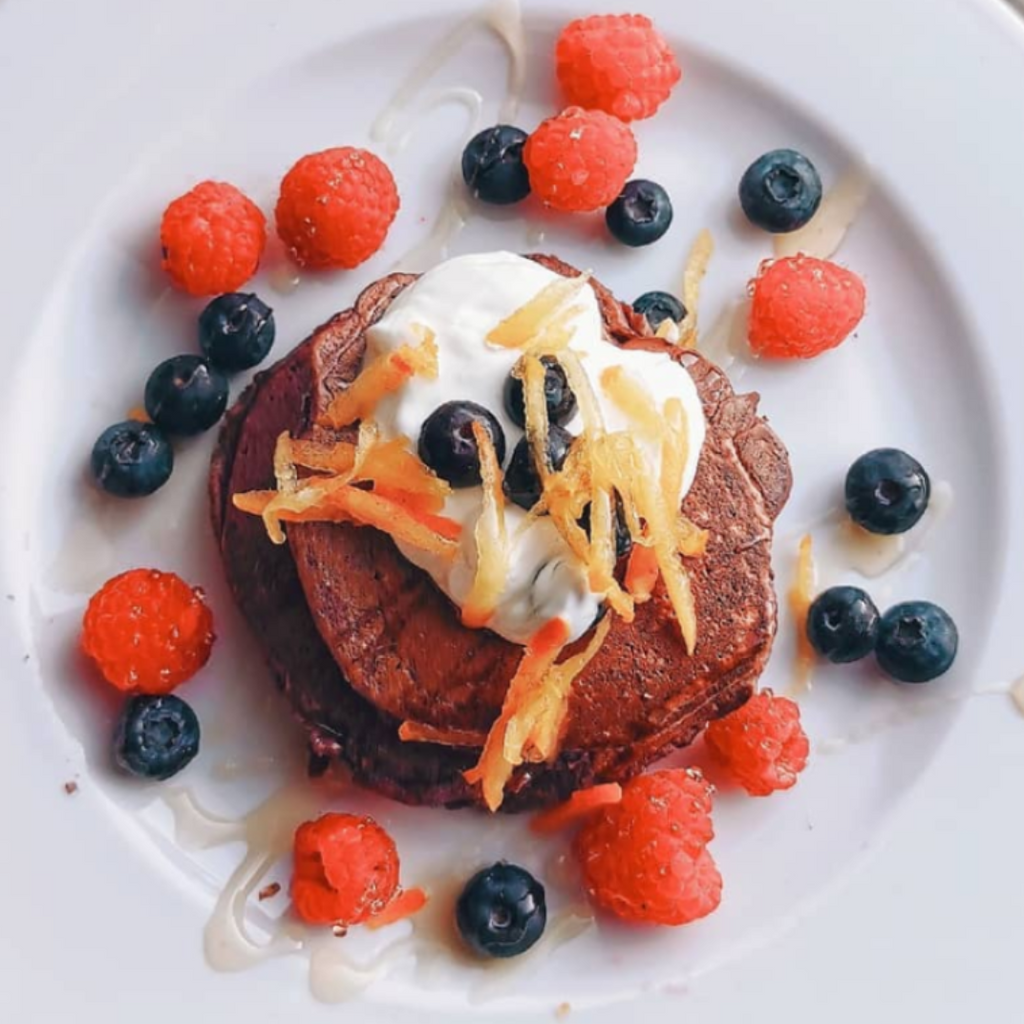 PURPLE HEALTHY HEART PANCAKES