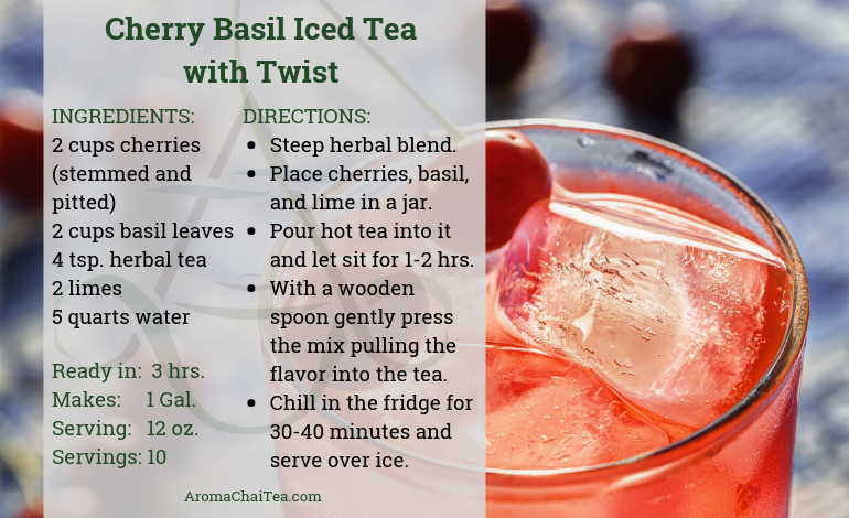 Cherry Basil Iced Tea with Twist