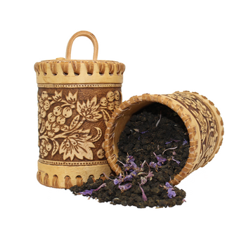 Premium Caffeine-free Herbal Tea in a Handmade Birch Bark Tin