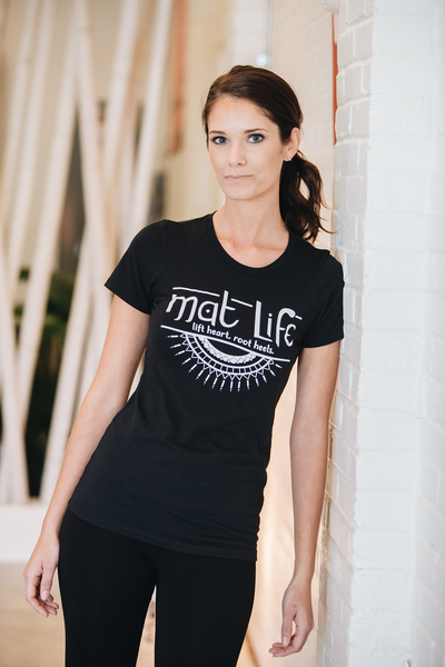Mat Life Yoga Short Sleeve T-shirt - Black