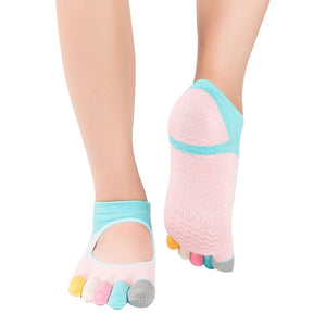 New Women Pilates Five Toe Cotton Non-Slip Yoga Socks in Fun Mixed Colors - Relaxing Recoveries