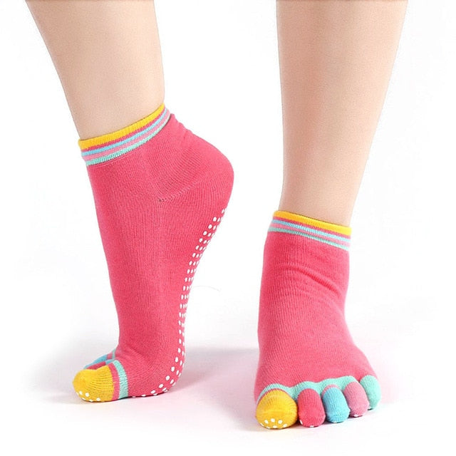 Cotton Yoga Gym Non Slip Massage Toe Socks Full Grip - Relaxing Recoveries