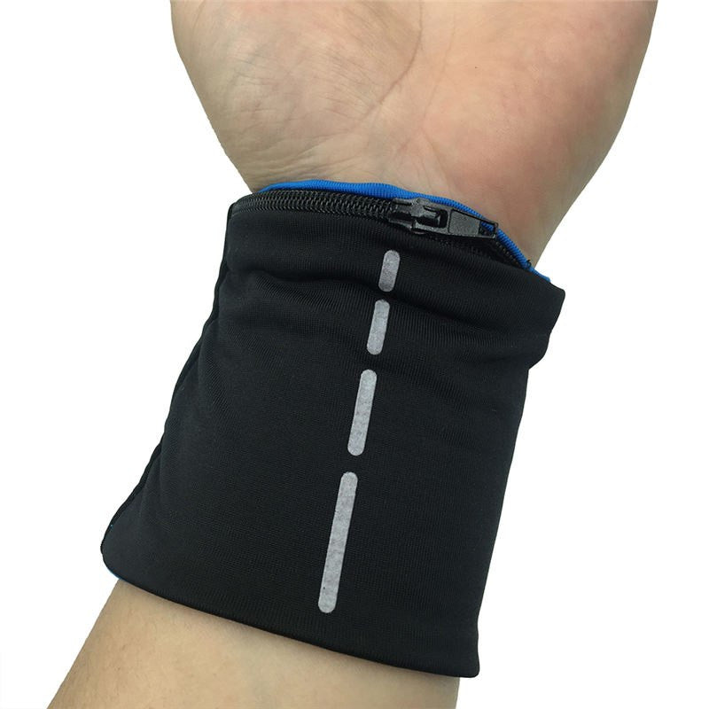 Reflective Zipper Pocket Wrist Support Wrap For Fitness Enthusiasts, Cycling Sports Wristband For Volleyball Badminton - Relaxing Recoveries