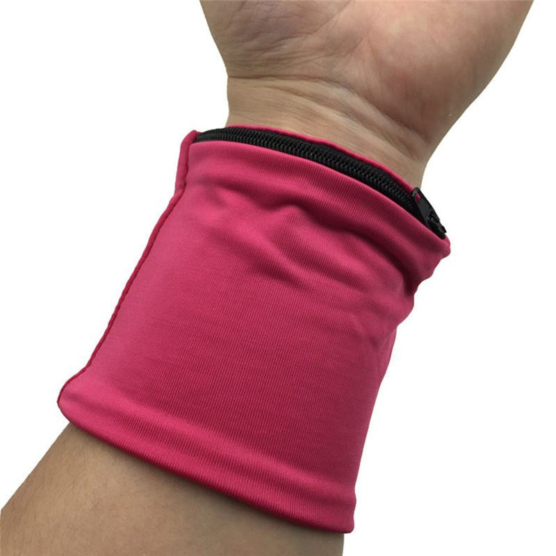 Reflective Zipper Pocket Wrist Support Wrap For Fitness Enthusiasts, Cycling Sports Wristband For Volleyball Badminton