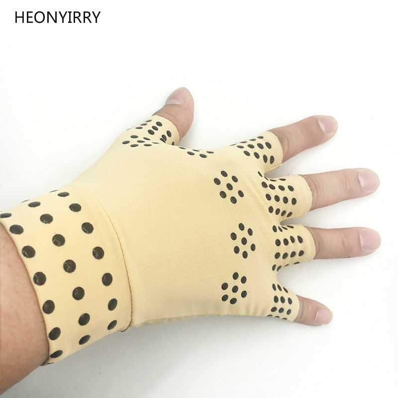 1 Pair Magnetic Therapy Fingerless Gloves For Arthritis Pain Relief Joints, Braces Supports Health Care Tool - Relaxing Recoveries