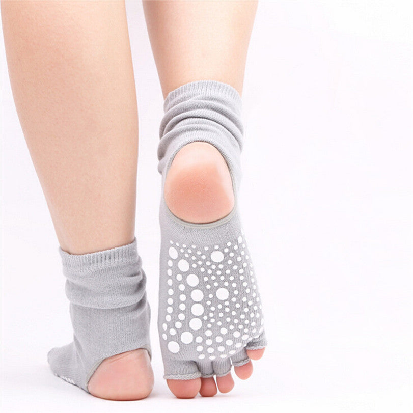 5 Finger Toe Backless Women Sport Socks Withr Non Slip Silicone Ankle Socks for Yoga and Pilates