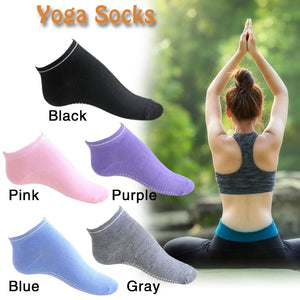 2018 Cotton Yoga Sports Anti-slip Socks In Black White Gray Blue Purple Or Pink - Relaxing Recoveries