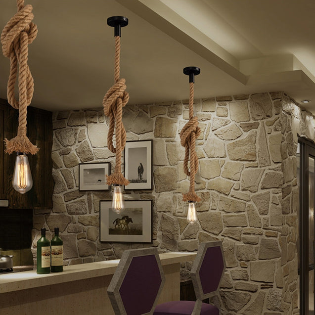 Coupcou.com: JUEJA American Industrial Retro Rope Pendant Light for Bedroom / Restaurants / Coffee Bar Lamp