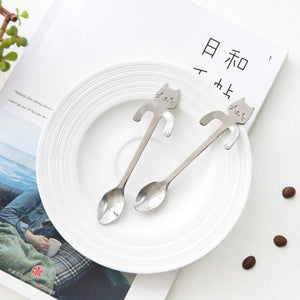 Coupcou.com: Stainless Steel Cat Cartoon Coffee Spoon Dessert Spoon